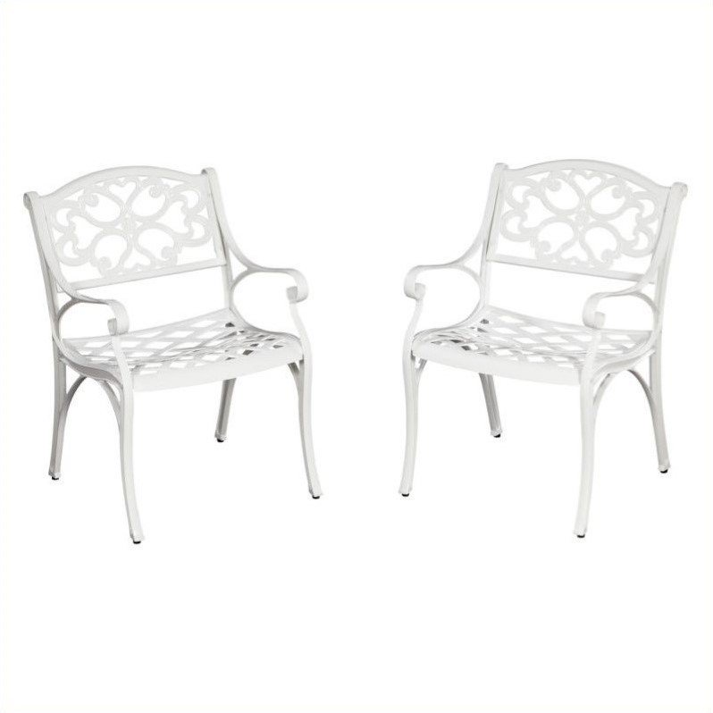Home Styles Biscayne Outdoor Dining Arm Chair in White (Set of 2)