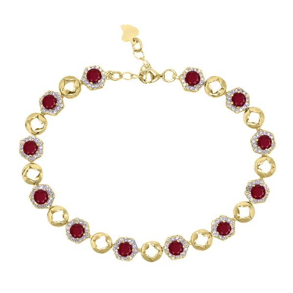 6.41 Ct Round Red Ruby 18K Yellow Gold Plated Silver Bracelet by