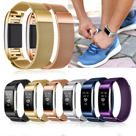 For Fit-bit Charge 2 Tracker Replacement Stainless Steel Silicone Milan Wristband Strap ()