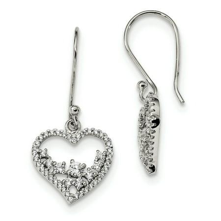 Sterling Silver CZ Dangle Heart Earrings QE13439 - image 1 of 1