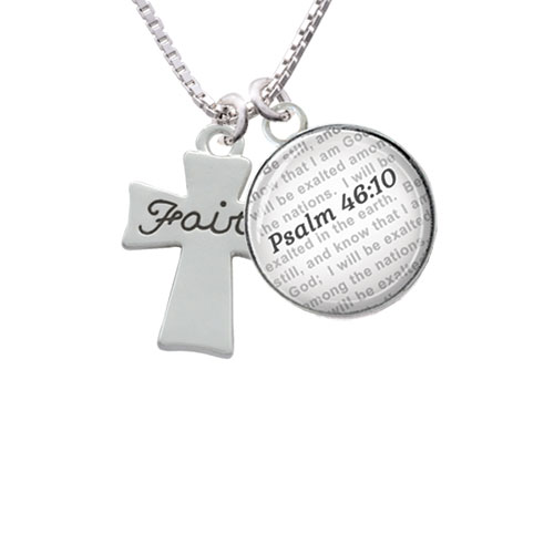 Faith Flat Cross - Bible Verse Psalm 46:10 Glass Dome Necklace