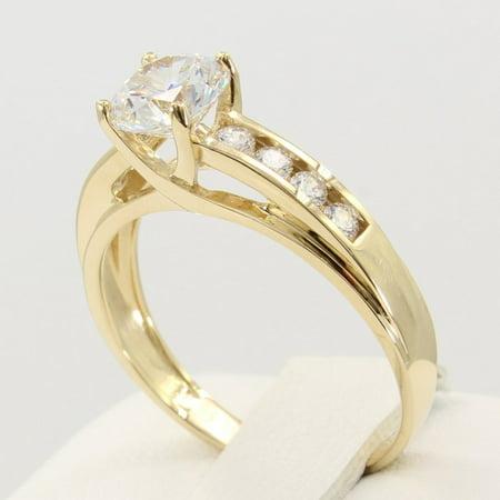 1.5 Ct 14K Real Yellow Gold Round Cut 4 Prong Trellis Setting Engagement Wedding Bridal Promise Ring