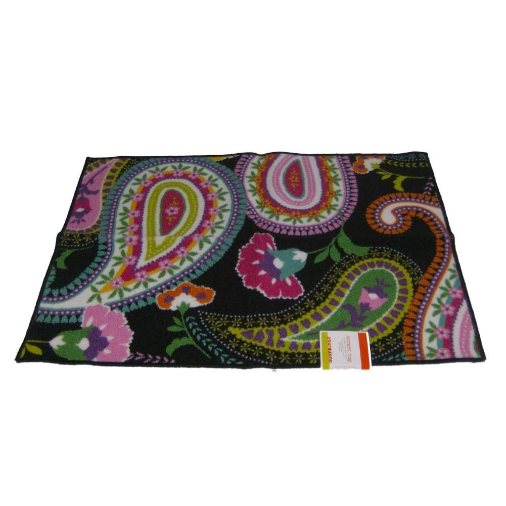 Your Zone Colorful Paisley Floral Throw Accent Rug 31x44 Skid Resistant