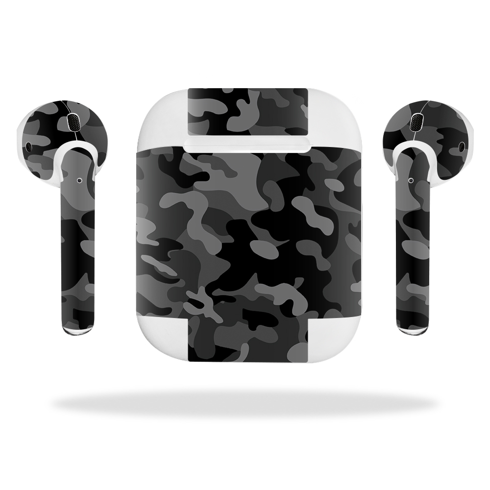 MightySkins Protective Vinyl Skin Decal for Apple AirPods wrap cover sticker skins Black Camo