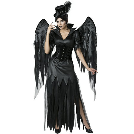 Midnight Raven Womens Adult Black Angel Of Death Costume - Womens Dark Angel Costume