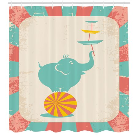 Circus Shower Curtain Grungy Background With Rays Of Beams And Elephant Holding Plates Standing In
