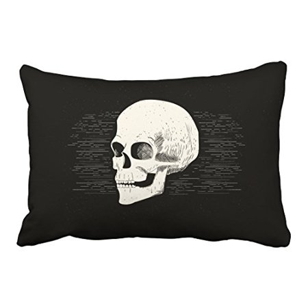 WinHome Colorful Vintage Halloween Skull Pencil Drawing Artistic Polyester 20 x 30 Inch Rectangle Throw Pillow Covers With Hidden Zipper Home Sofa Cushion Decorative - Halloween Drawing Skulls