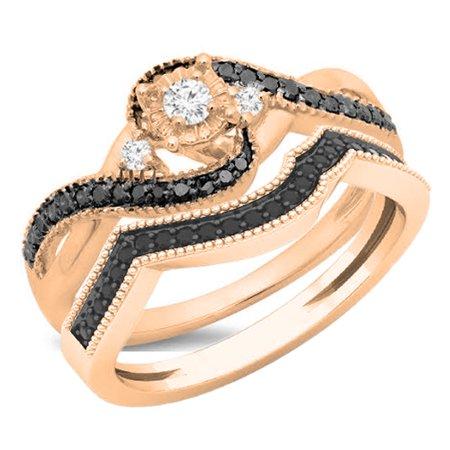 18k White Gold Twist (0.45 Carat (ctw) 18K Rose Gold Round Black & White Diamond Ladies Bridal Twisted Swirl 3 Stone Engagement Ring Set 1/2 C)