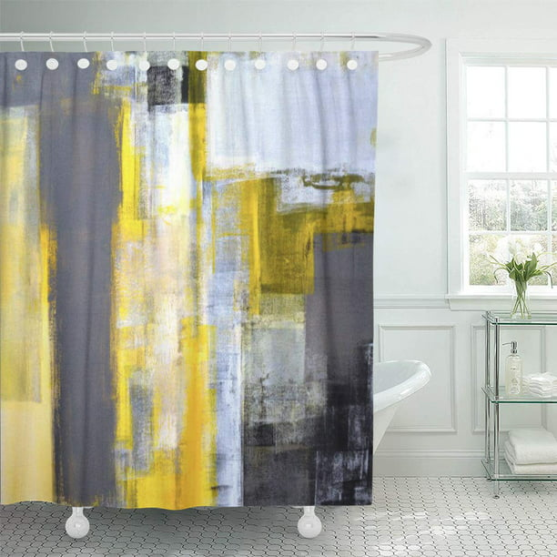 Cynlon Black Busy Grey And Yellow, Yellow And Grey Bathroom Accessories