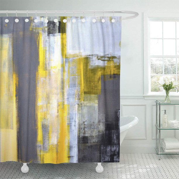 Cynlon Black Busy Grey And Yellow, Gray White And Yellow Shower Curtains