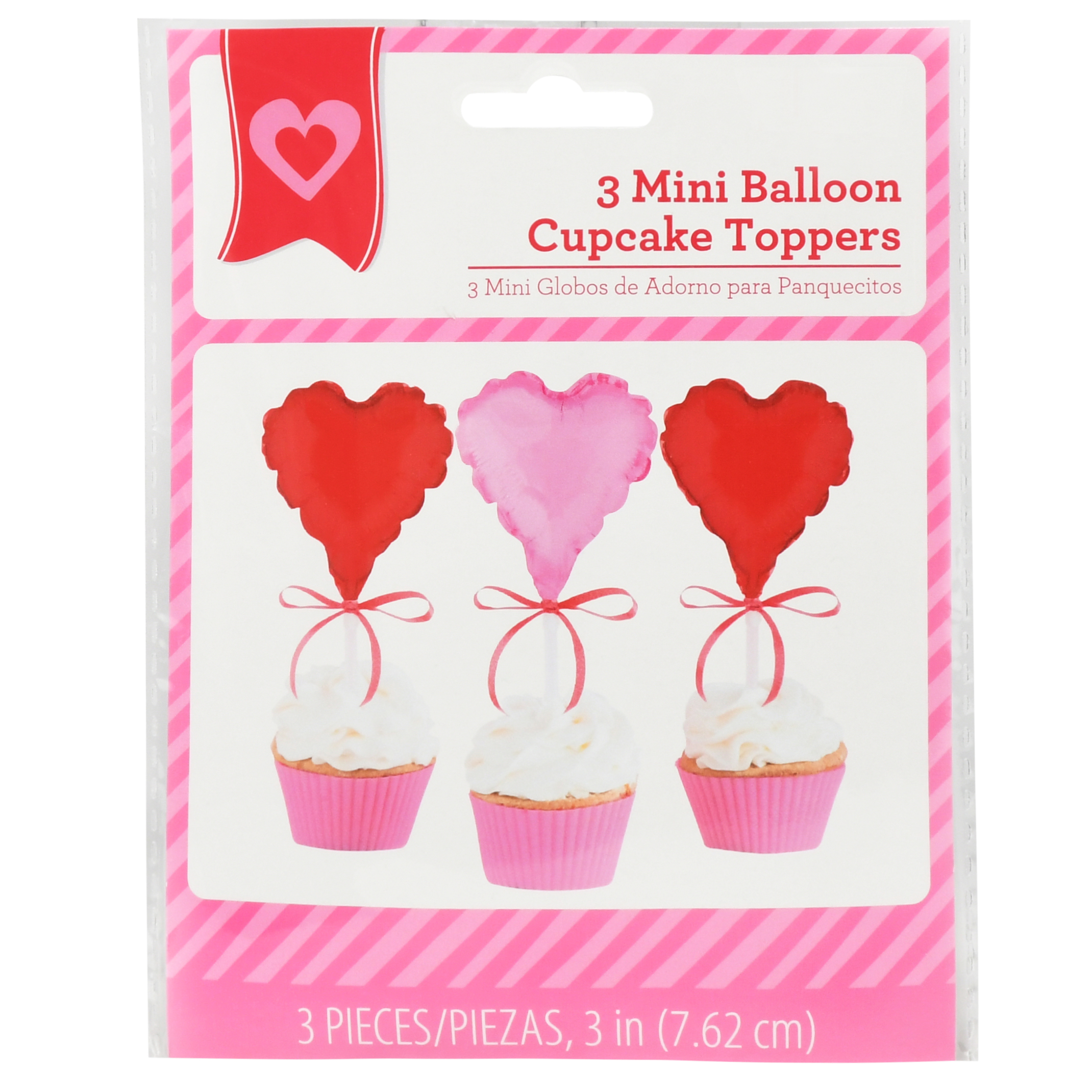 Pink and Red Heart Balloon Valentine's Day Cupcake Toppers, 3 in, 3ct