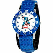 Captain America Boys' Stainless Steel Watch, Blue Strap
