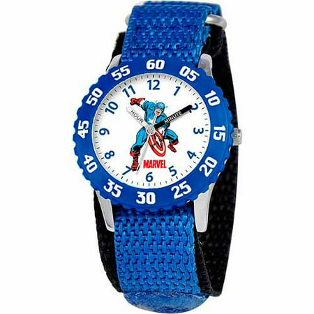 Marvel Captain America Boys' Stainless Steel Watch, Blue Strap