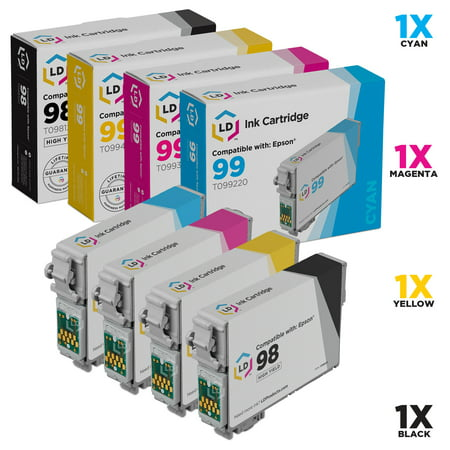 LD Remanufactured Replacements for Epson T098/T099 Set of 4 HY Cartridges: 1 T098120, 1 T099220, 1 T099320, 1 T099420 for the Epson Artisan 700, 710, 725, 730, 800, 810, 835, & 837 s ()