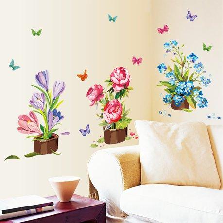 Chambre auto adh sif pvc motif fleur papillon autocollant for Decalque mural