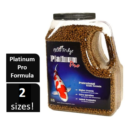 Blue Ridge Platinum Pro Professional Koi & Goldfish Fish Food Pellets, 4.5 lb (Koi Floating Food Small Pellet)