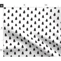 Black And White Tree Christmas Holiday Winter Fabric Printed by Spoonflower BTY