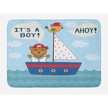Ahoy Its a Boy Bath Mat, Cute Baby Shower Theme It's a Boy in Nautical Style Bear and Bird in Boat, Non-Slip Plush Mat Bathroom Kitchen Laundry Room Decor, 29.5 X 17.5 Inches, Multicolor, Ambesonne (Ahoy Its A Boy Baby Shower Theme)