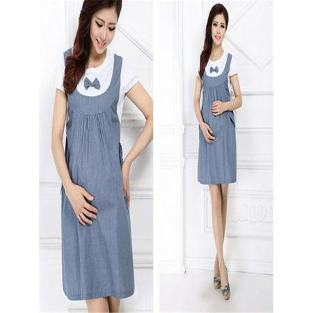 5dd4b2423bb Maternity Dress Bow Clothes For Pregnant Women Pregnancy Denim Clothing  BU L - Walmart.com