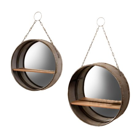 Set Of 2 Rustic Galvanized Metal Wall Mirrors With Wooden