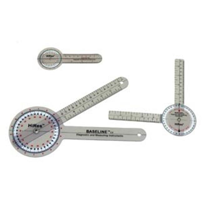 Fabrication Enterprises 12-1002HR 6 in. Baseline Hires 360 Degree Clear Plastic Goniometer