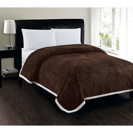 Elegant Comfort Best, Softest, Luxury Micro-Sherpa Blanket on Walmart! Heavy Weight Stripe Design Ultra Plush Blanket, King/Cal King,