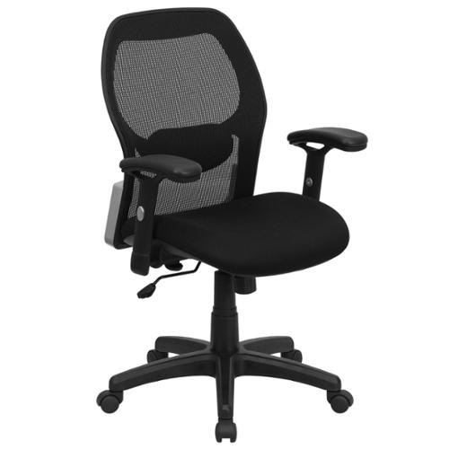 A Line Furniture Lobat Black Executive Adjustable Swivel Office Chair with Mesh Padded Seat
