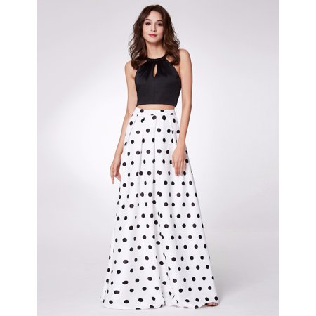 Ever-Pretty Womens Sexy Halter Crop Top Long Polka Dot High Waist Skirt Formal Evening Homecoming Prom Ball Gown for Women 07217 US 4