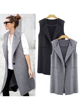 2aed4f34e11de Product Image Women Casual Sleeveless Long Duster Coat Jacket Cardigan Suit  Vest Waistcoat New. Product Variants Selector. Black