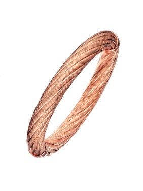 X & O 18KT GEP - 10mm Rose Gold Twisted-Textured Bangle
