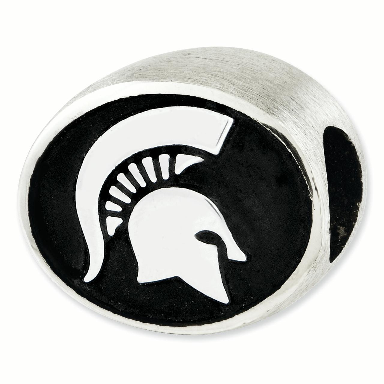 Sterling Silver Antiqued Michigan State University Collegiate Bead