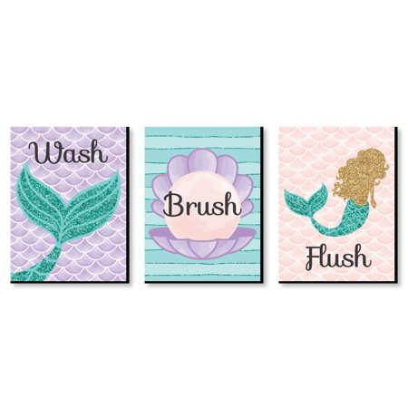 "Let's Be Mermaids - Kids Bathroom Rules Wall Art - 7.5"" x 10"" - Set of 3 Signs - Wash, Brush, (House Rules Signs)"