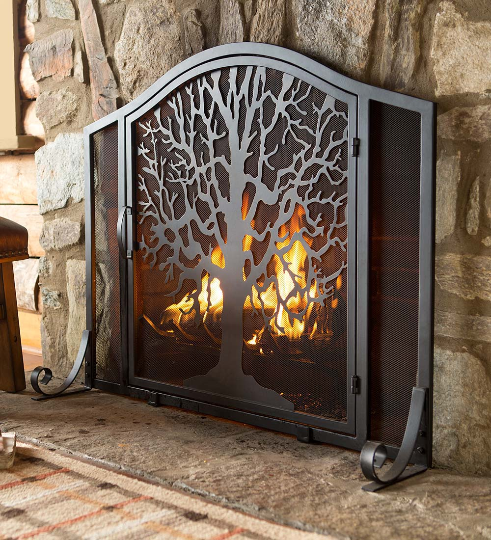 Large Tree of Life Fireplace Fire Screen with Door, Black