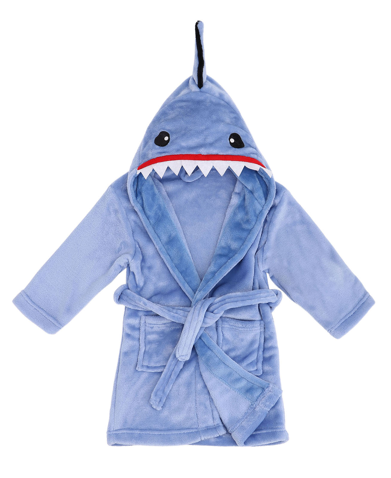 Animal Plush Robe with Hood Soft Hooded Terry Bathrobe,Shark Blue,XL(11-14 Years)