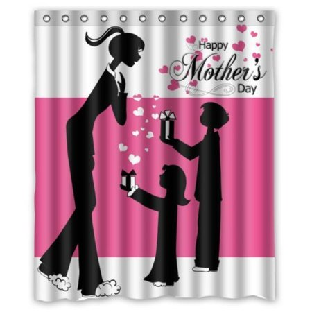 60Wx72H Inch Waterproof Bathroom Happy Mothers Day Shower Curtain