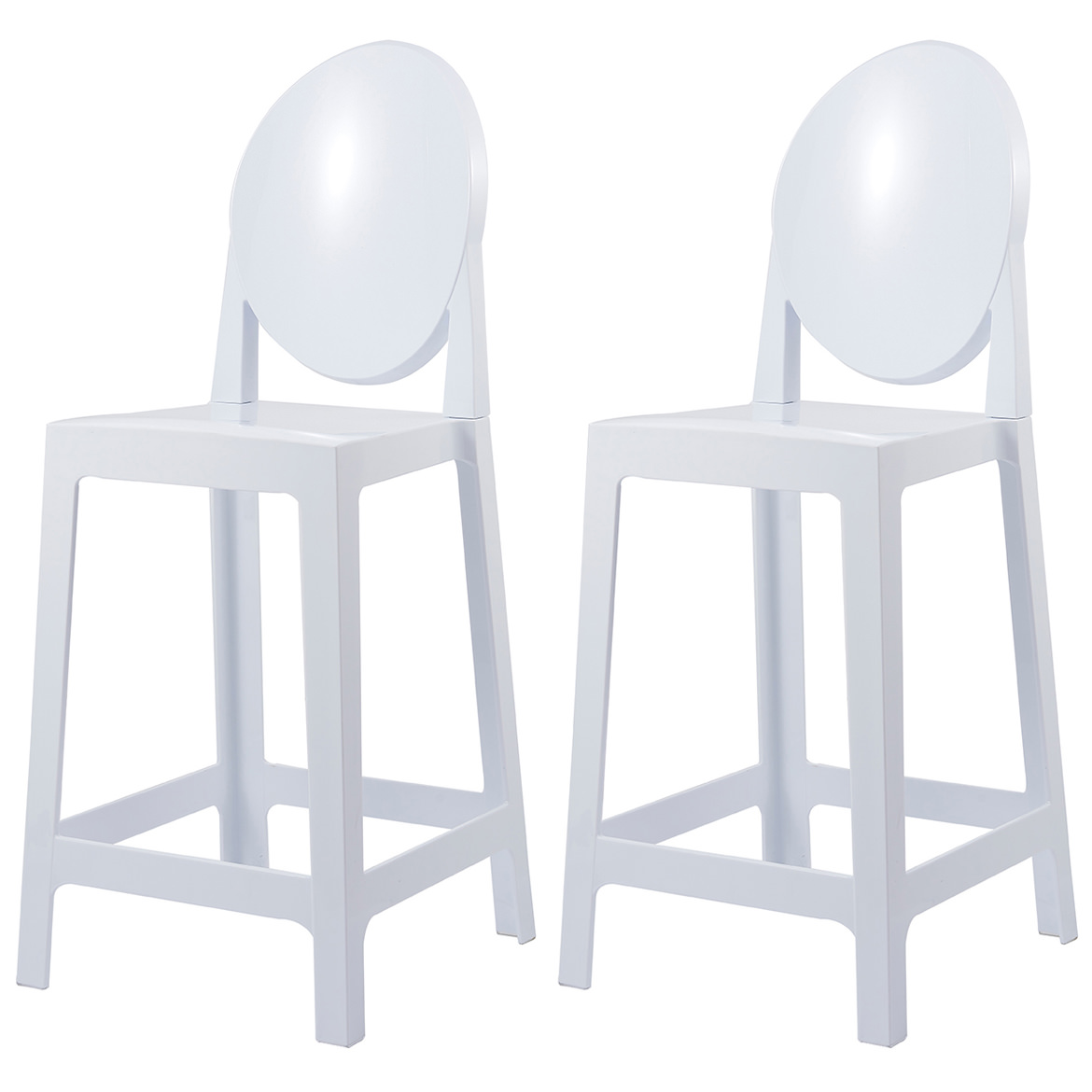 """2xhome Set of 2 25"""" Seat Height Clear Transparent Contemporary Modern Glam Barstool Modern Chairs Molded Plastic Bar Stool Counter Stool No Arms Lounge Kitchen With Back"""