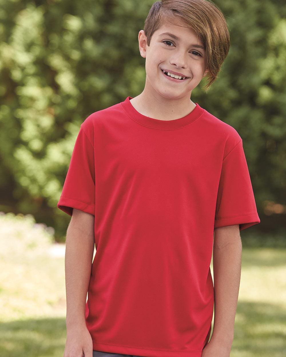 NEW Boys Top T Shirt Size 8-10 Kids Navy Blue Button School Russell Kids Tee
