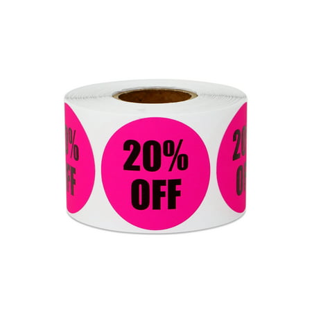 """1.5"""" Round 20% OFF Stickers Labels for Retail Pricing, Sales or Discounts (2 Rolls / Pink)"""