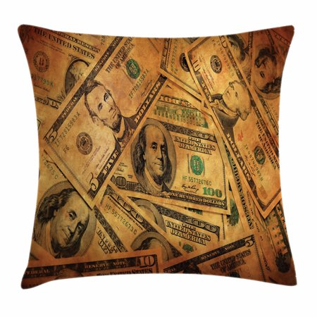 Money Throw Pillow Cushion Cover  Grunge Style Background With Fiver Sawbuck And Century Note Important Figures  Decorative Square Accent Pillow Case  18 X 18 Inches  Pale Green Brown  By Ambesonne
