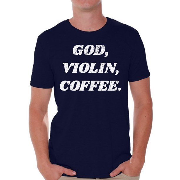 Awkward Styles God Violin Coffee T Shirt for Men Christian Mens Shirts Christian Clothes for Men Religious Shirt Christian Birthday Gifts Jesus Shirts Coffee Clothing God Violin Coffee Mens Shirt