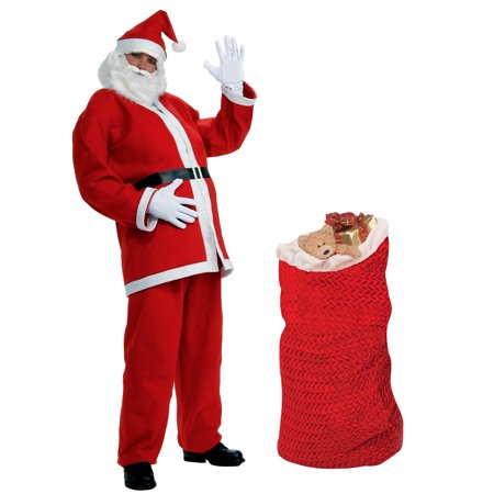 5 Piece Cheap Christmas Santa Claus Costume XL & Deluxe Santa Toy Bag Accessory (Cheap Arabian Costumes)