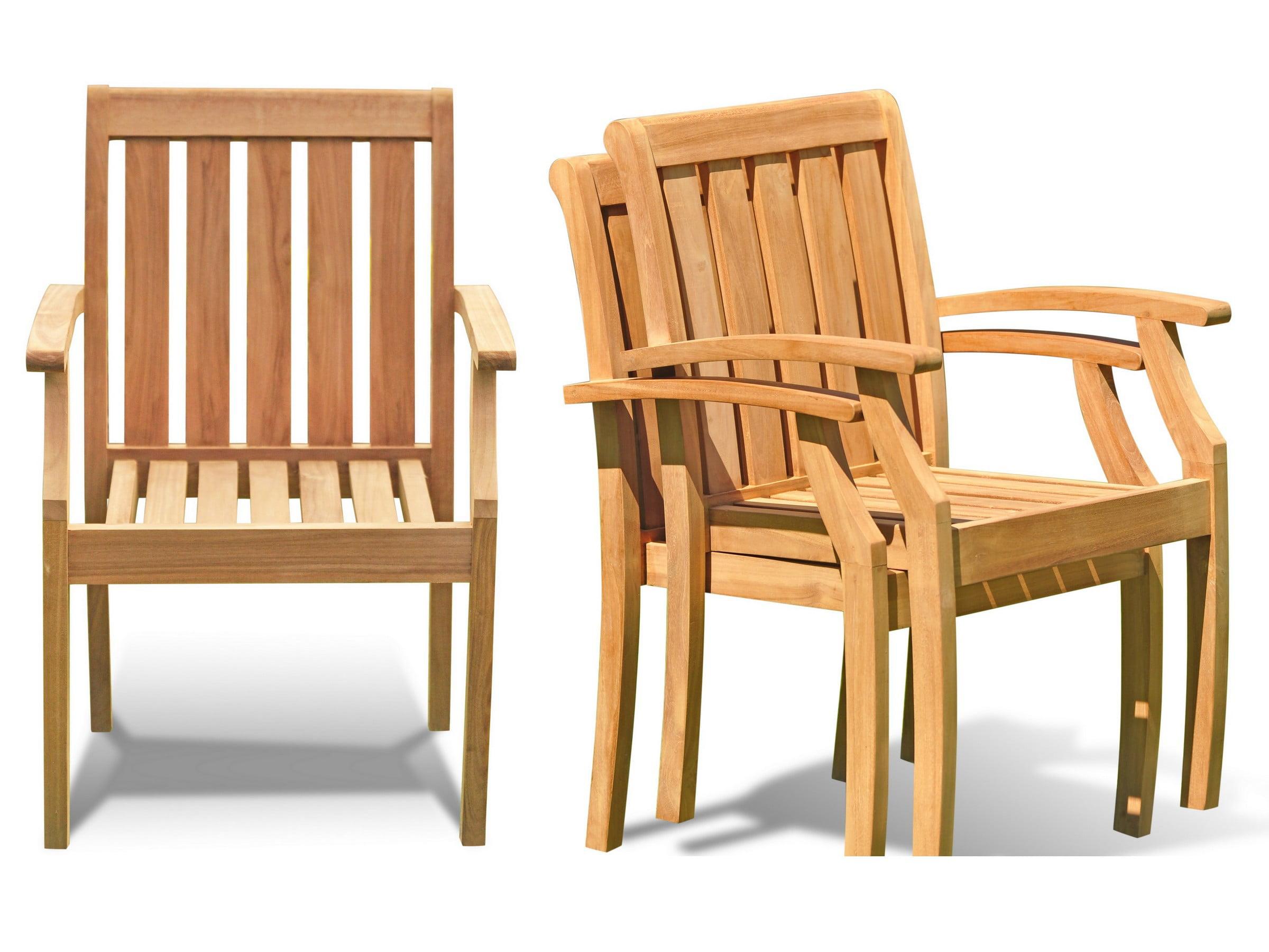 Somerset Stacking Arm Captain Grade-A Teak Wood Luxurious Solo Single Dining Chair WholesaleTeak #WMDCARSSPR by WholesaleTeak