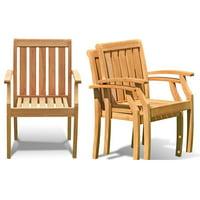 Somerset Stacking Arm/Captain Grade-A Teak Wood Luxurious Solo Single Dining Chair WholesaleTeak #WMDCARSSPR