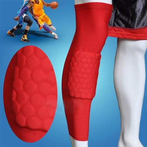 AGPtEK trengthen Kneepad Honeycomb Pad Crashproof Antislip Basketball Leg Knee Long Sleeve Protective Pad (Red, XL)