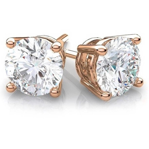 A M Cubic Zirconia 14kt Rose Gold Stud Earrings Walmart Com Walmart Com