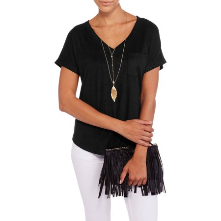 Image of Juniors' Short Sleeve Solid Suede V-Neck Pocket Tee with Necklace