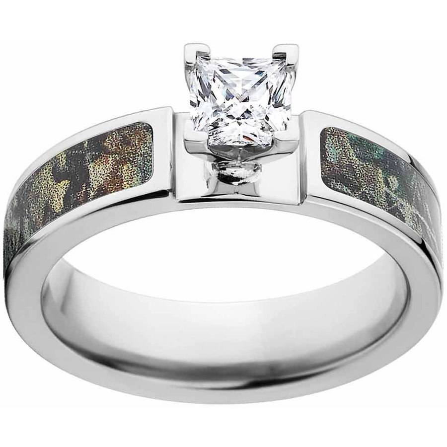RealTree Timber Women's Camo Engagement Ring Cobalt and 14kt White Gold with Polished Edges and Deluxe Comfort Fit