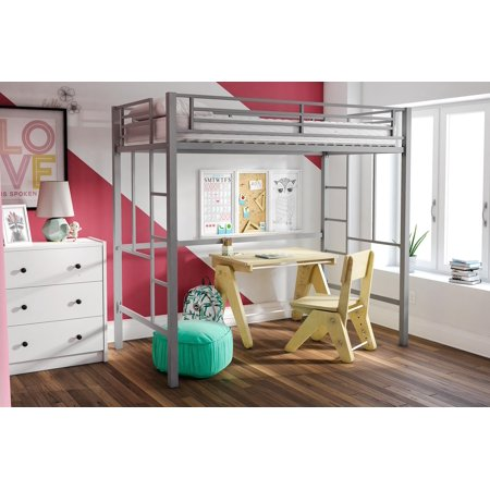Yourzone Metal Twin Loft Bed With Mattress Multiple