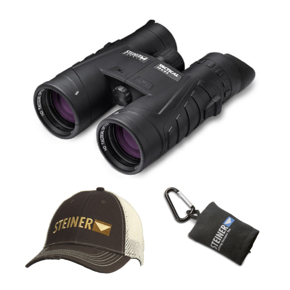 Steiner Tactical 10x42 Binoculars with Cap and Microfiber Lens Cloth Pouch