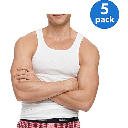 Hanes Big Mens Freshiq Comfortsoft White Tagless Tank 5 Pack
